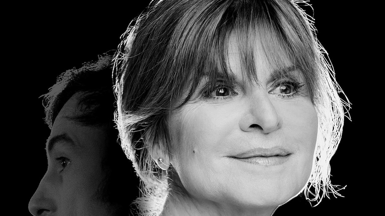 Photo en noir et blanc de Guylaine Tremblay avec le profil d'Yvon Deschamps derrière elle.