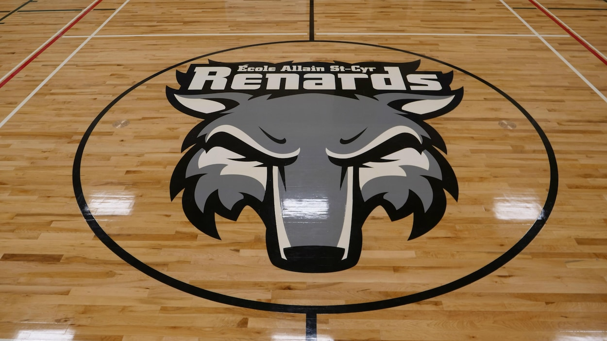 Un logo de renard dans le milieu d,un gymnase.