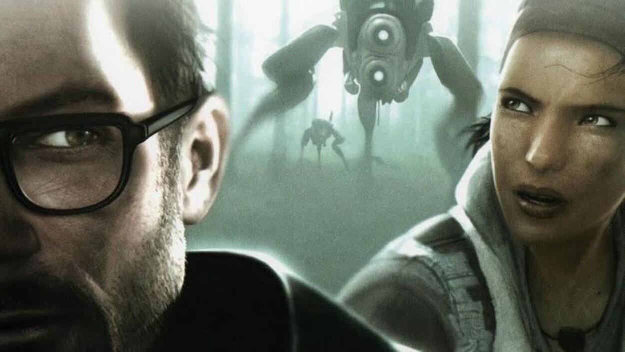 Le détail de la pochette du jeu Half-Life 2 : Episode Two, montrant une partie du visage de Gordon Freeman et celui d'Alyx Vance.