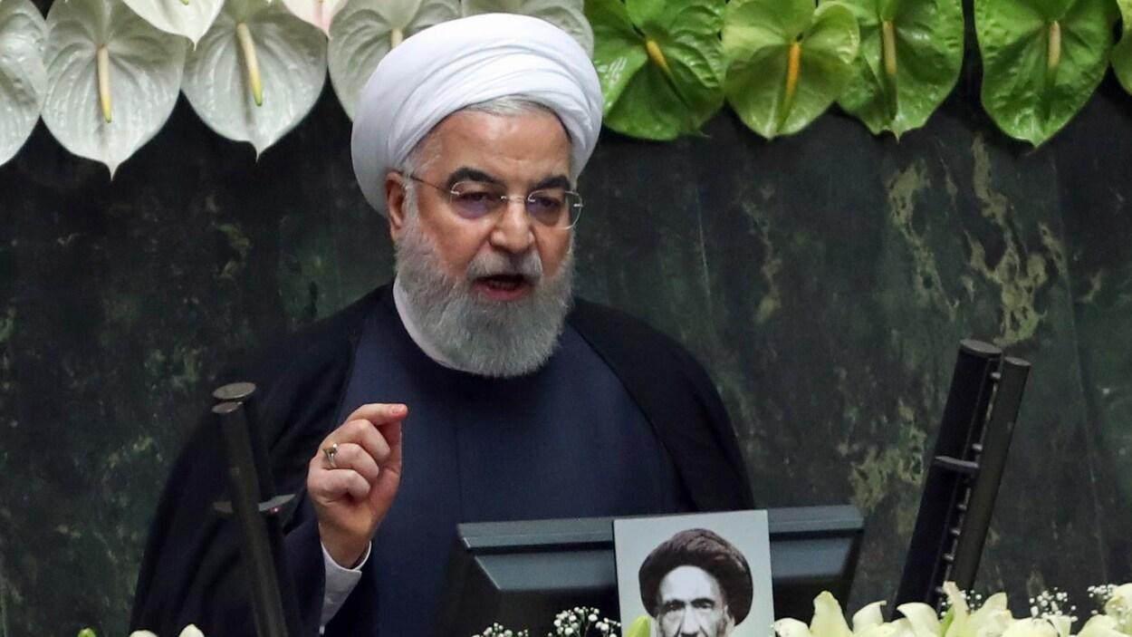 Le président iranien Hassan Rohani prononce un discours en mai 2020.