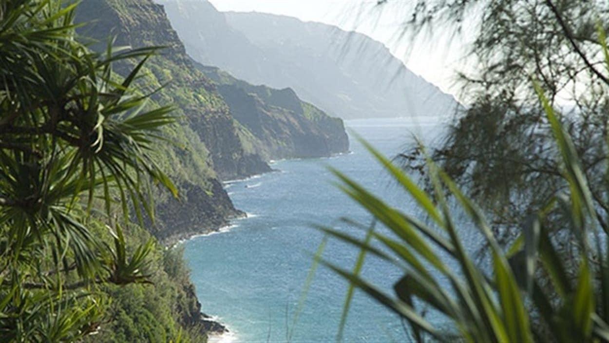 Paysage des îles d'Hawaï : montagnes, verdure, falaises et eau