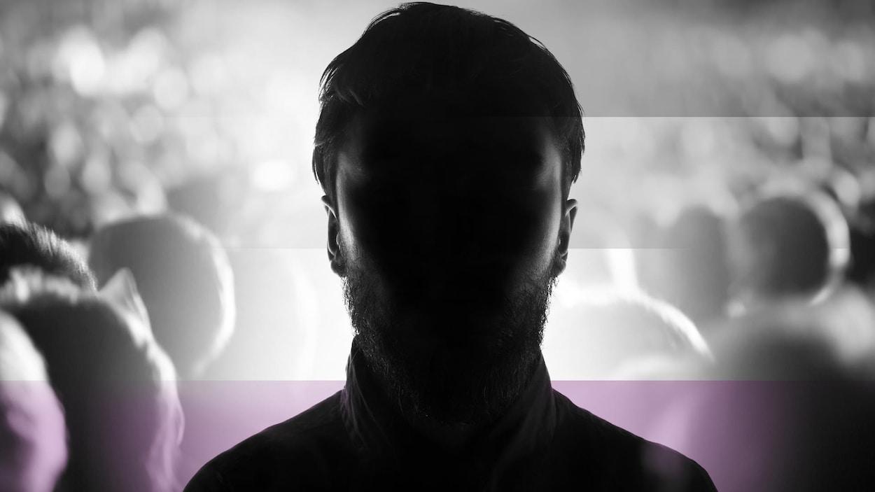 Image infographique représentant un homme dont le visage est dans l'obscurité