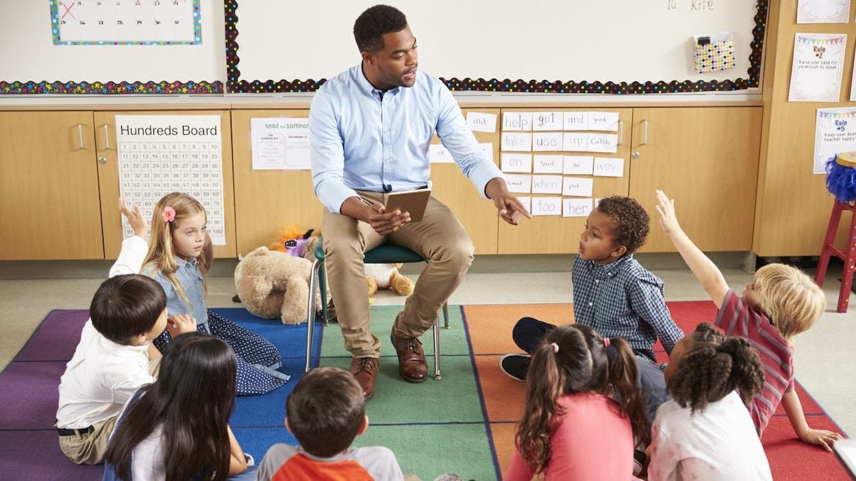 Un enseignant entouré d'enfants.