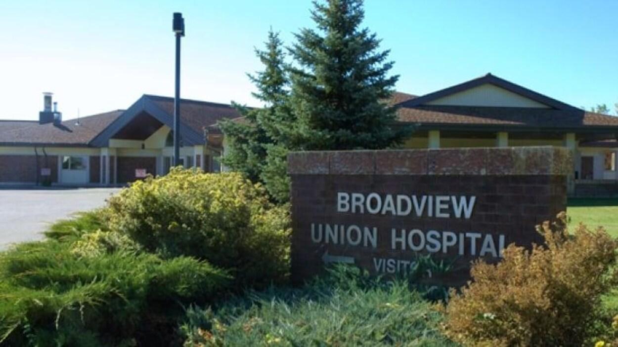 Vue de l'entrée de l'hôpital Union à Broadview.