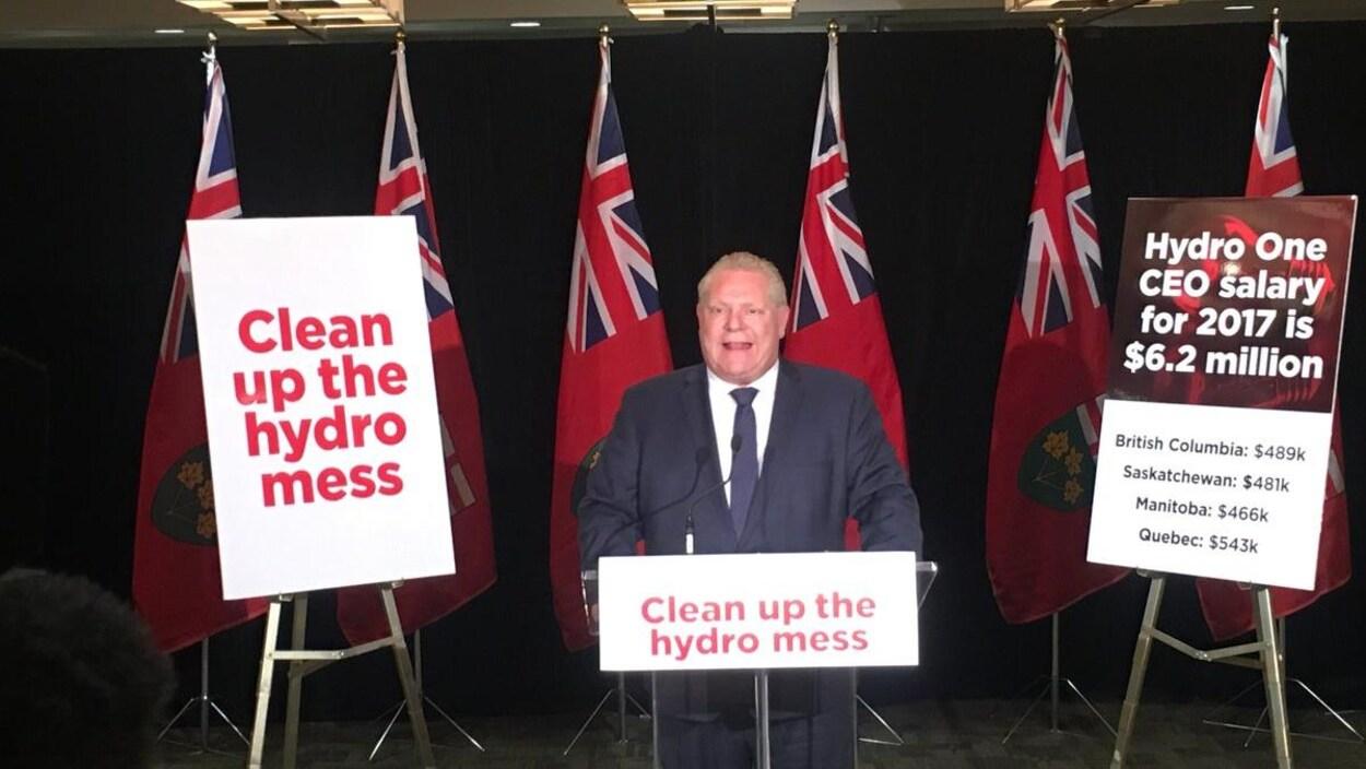 Le chef du parti progressiste-conservateur Doug Ford se tient derrière un podium qui porte un panneau sur lequel est écrit « Clean up the hydro mess » avec des drapeaux de l'Ontaio derrière lui et deux autres pancartes de chaqque côté.