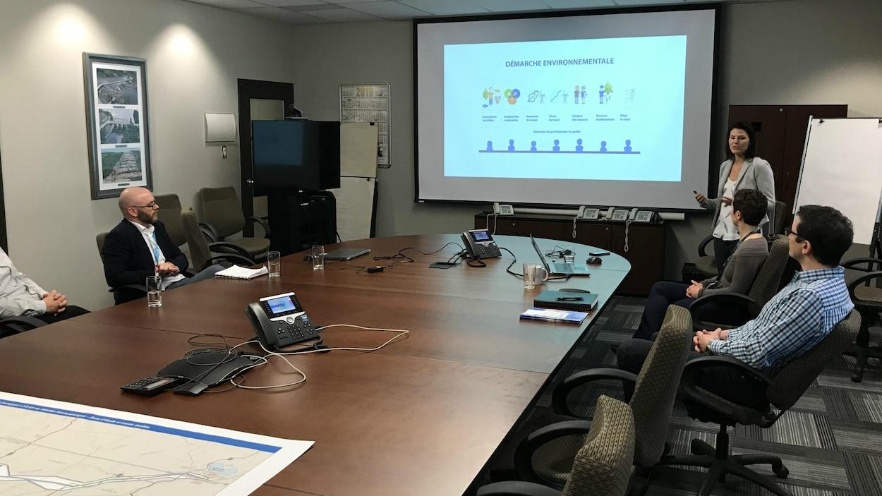 Une femme donne une présentation sur un écran, devant des personnes assises autour d'une table de conférence.