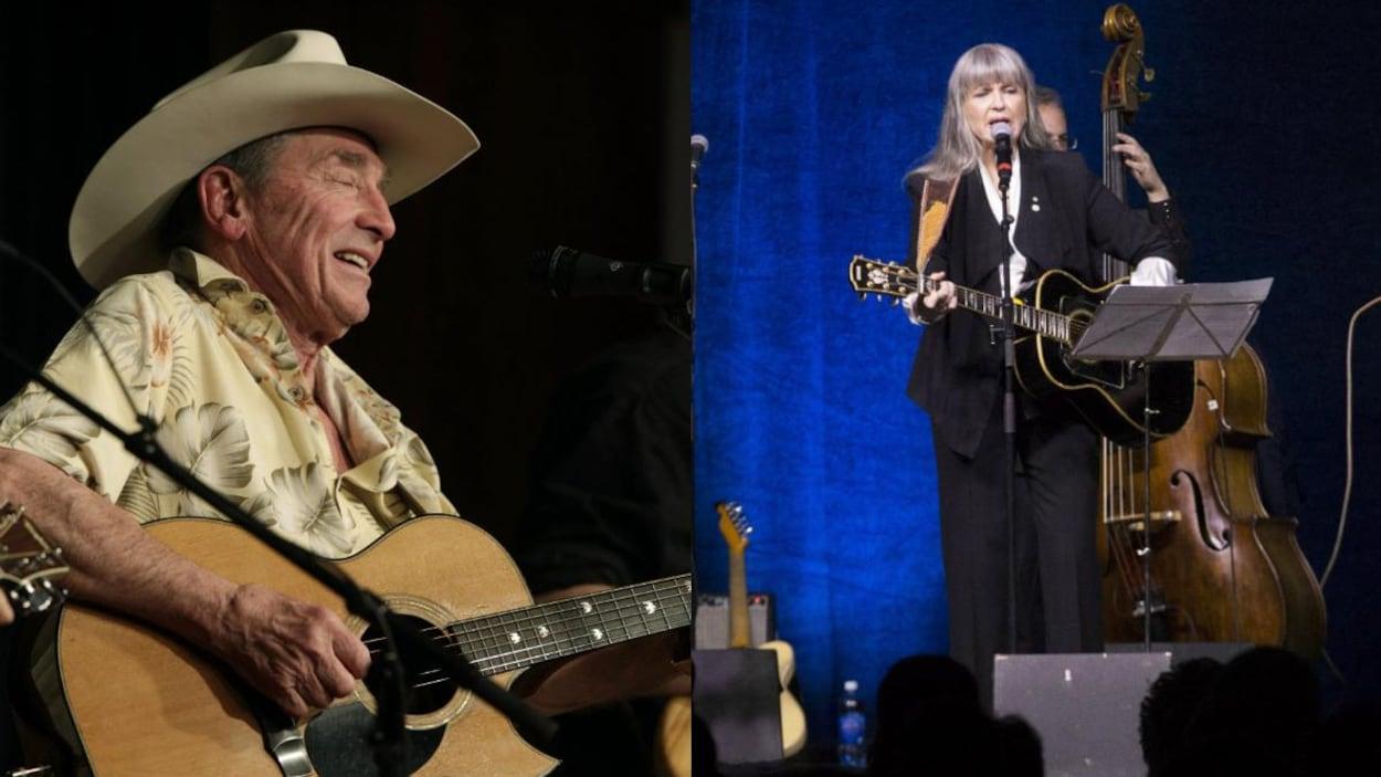 Un homme à la guitare avec un chapeau de cowboy et une femme qui chante à la guitare