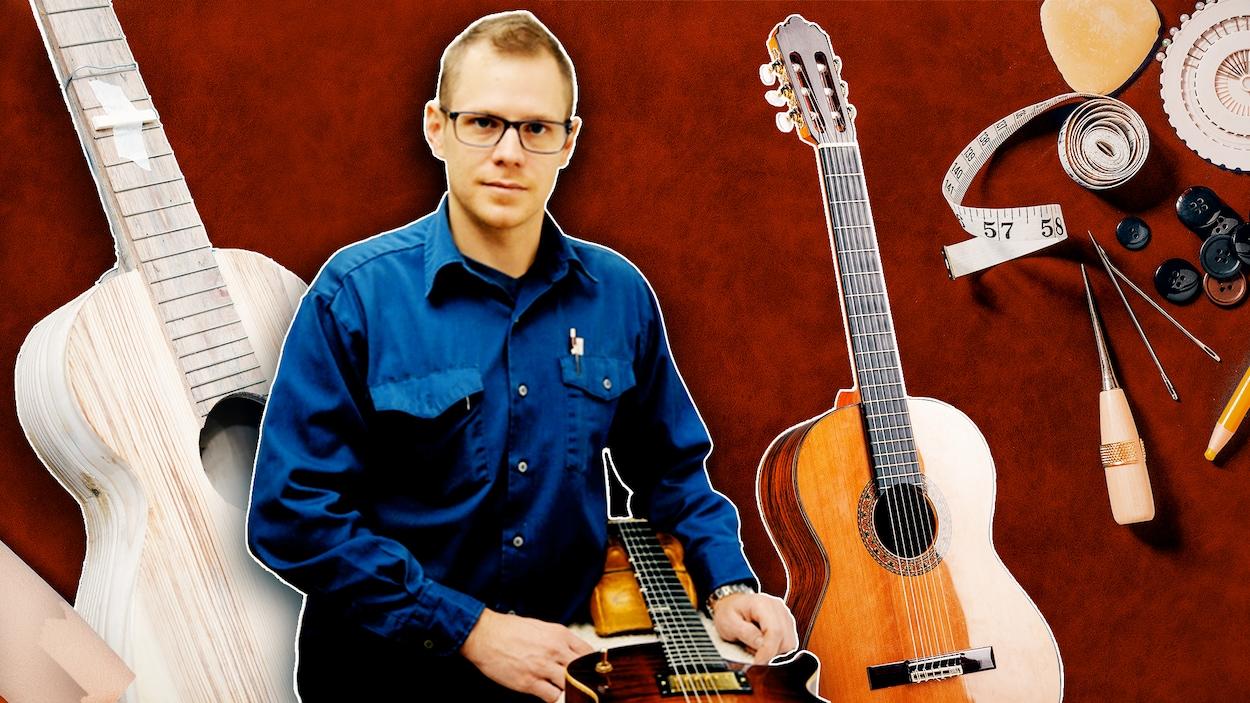 La photo d'homme portant une chemine bleue est apposée sur un arrière-plan décoré de guitares et d'outils.