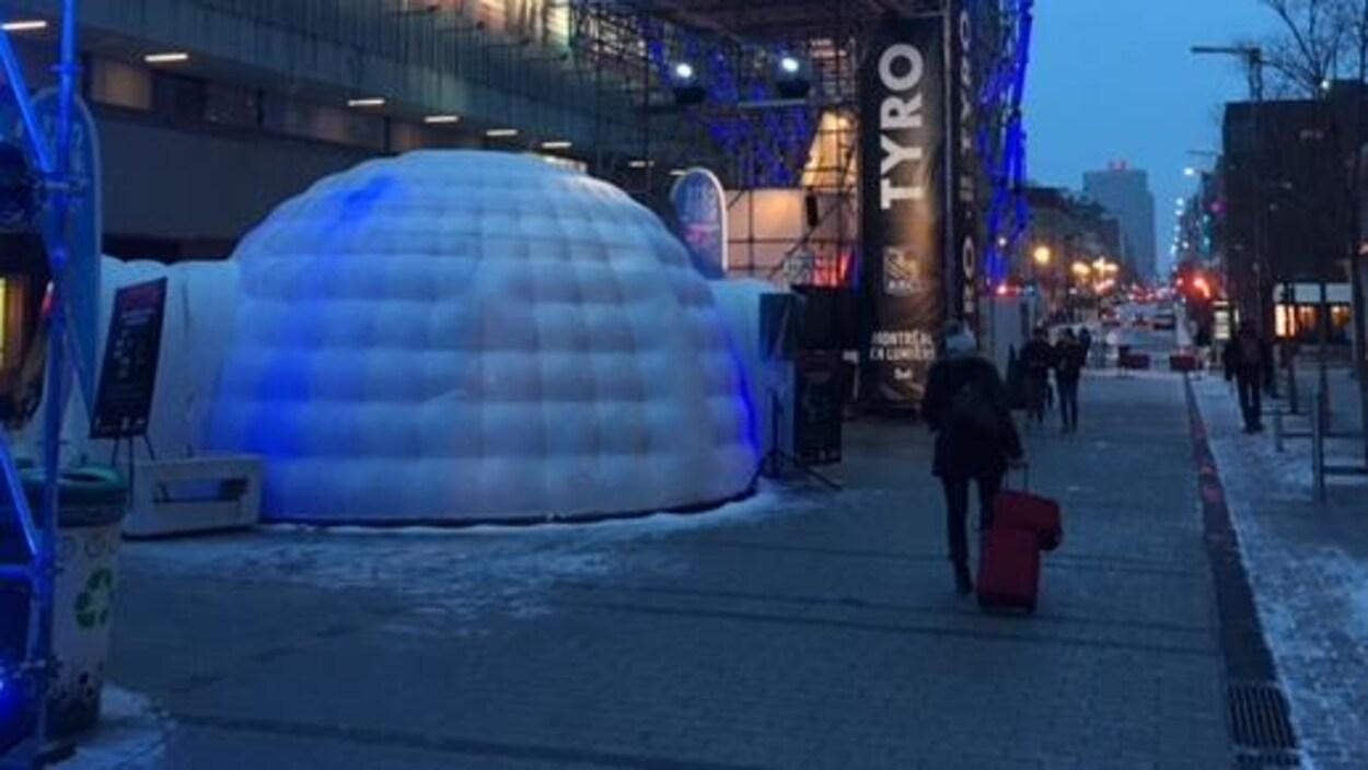 Le kiosque de la Côte-Nord au festival Montréal en lumière.