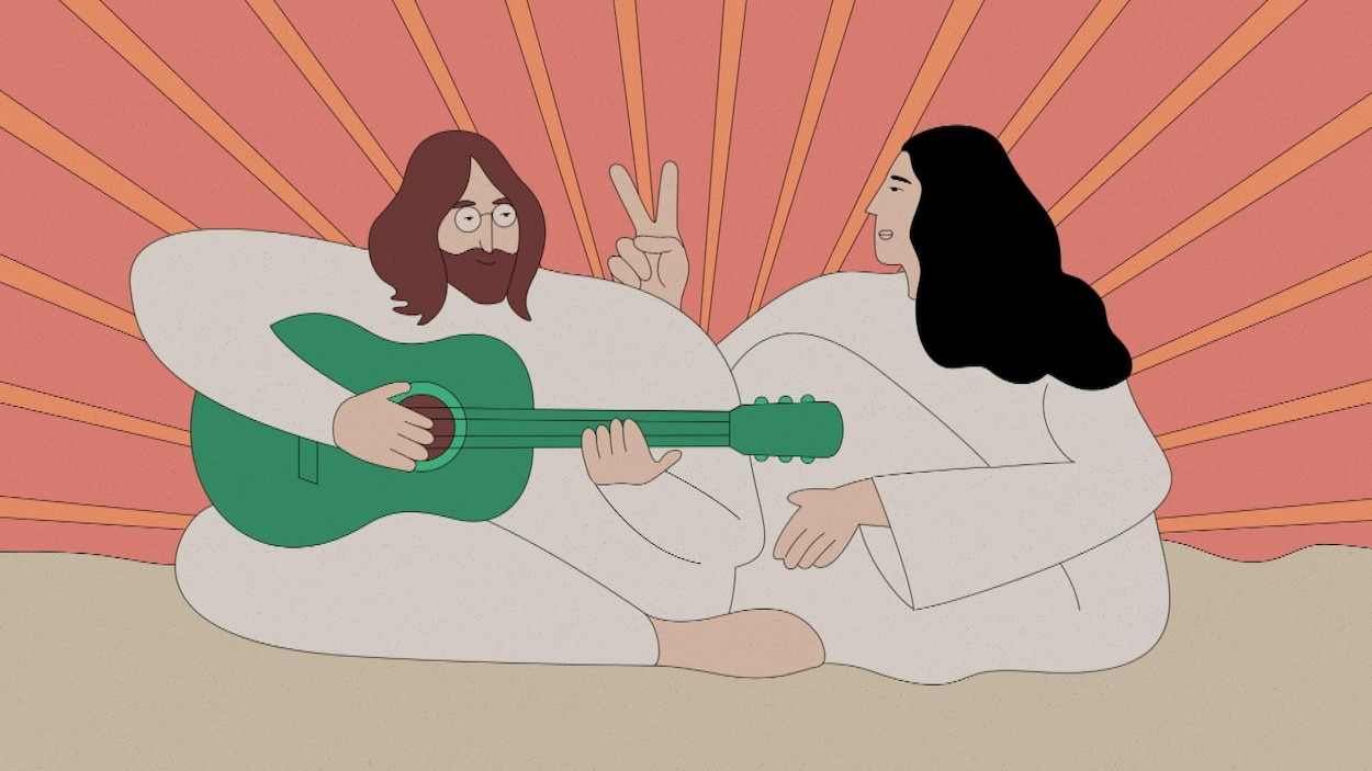 Illustration de John Lennon et Yoko Ono assis dans un lit.