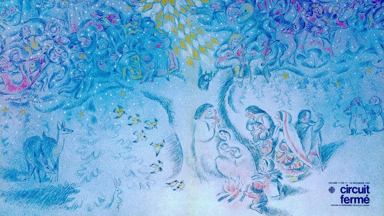 Crèche sous un arbre animé avec des musiciens, danseurs et des enfants.