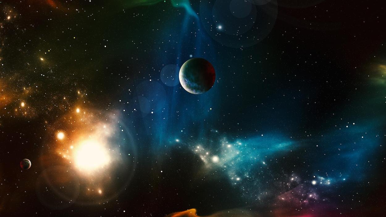 Illustration représentant des étoiles et de planètes.
