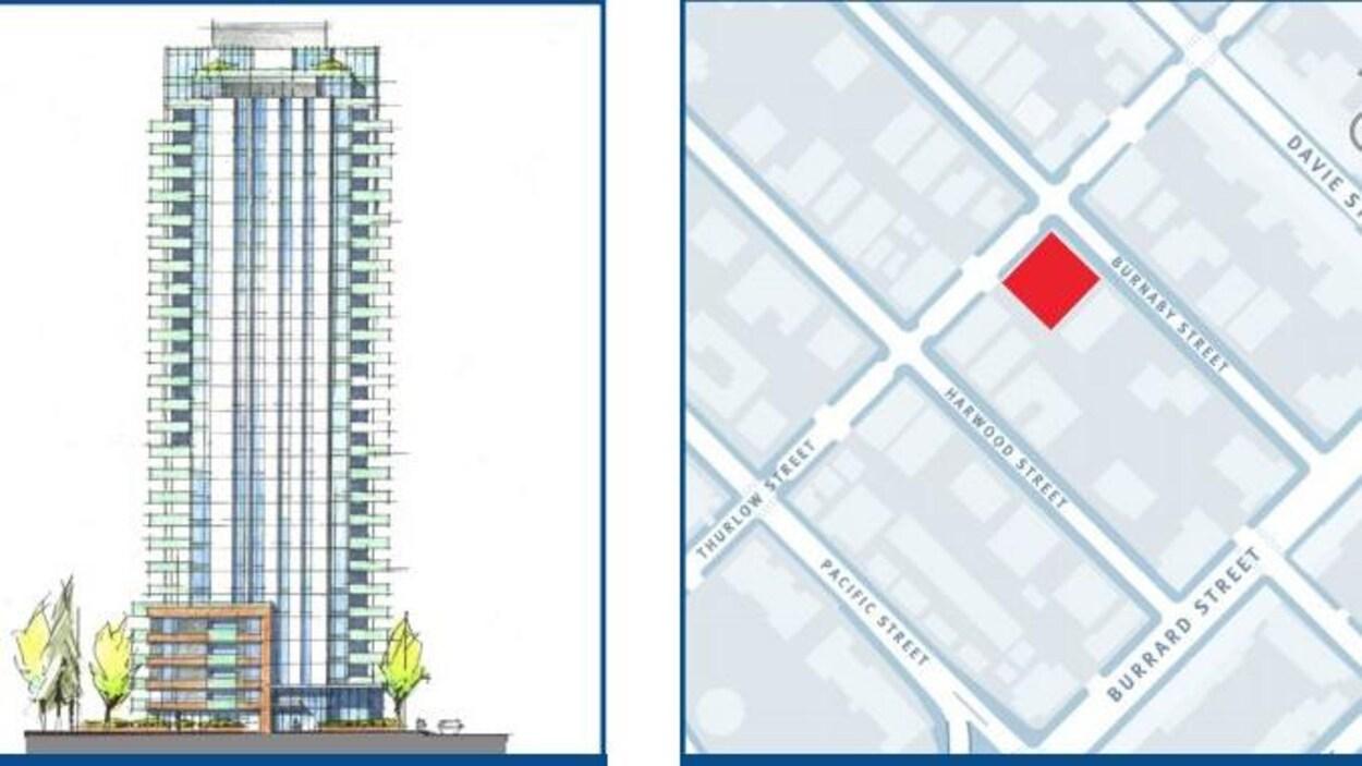 Un dessin de l'immeuble proposé et du coin de rue où il doit être construit.