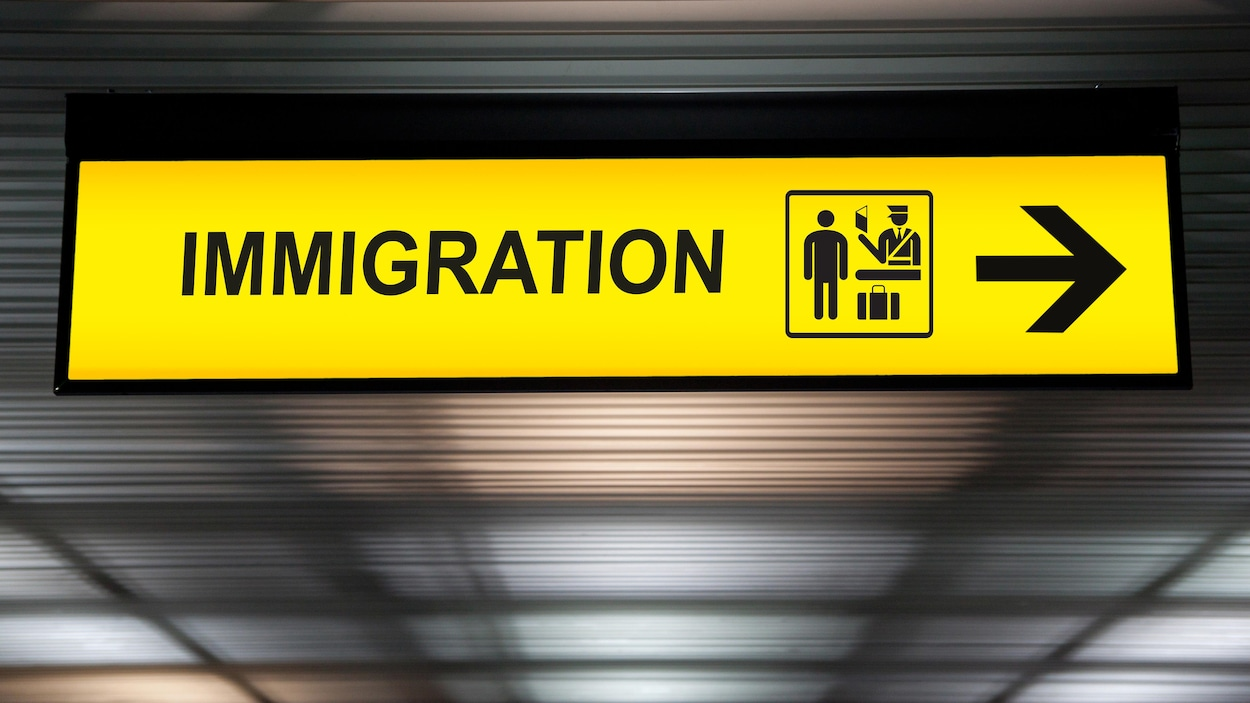 Un panneau signalétique montrant les douanes pour les passagers en immigration dans un aéroport.