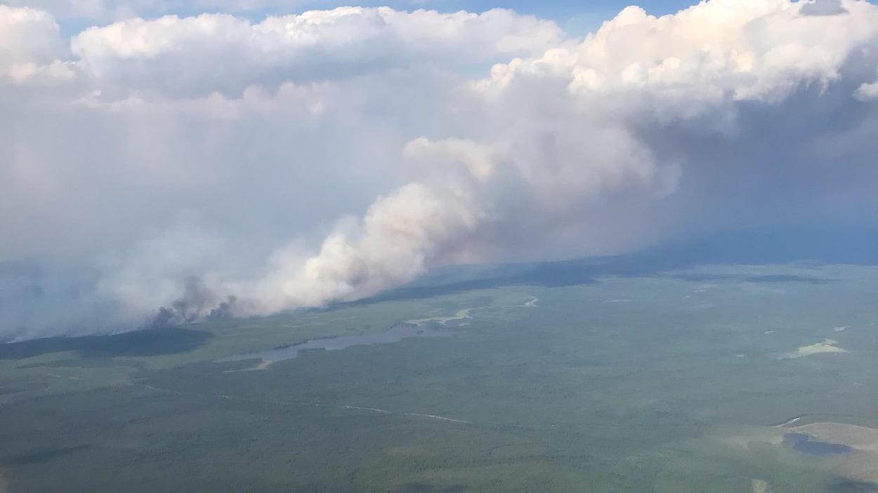 Photo d'un feu de forêt prise du ciel.