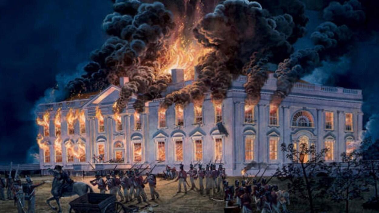 Le Capitole en flamme durant la guerre de 1812
