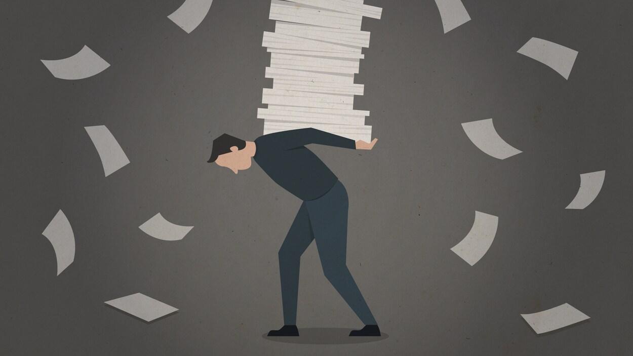 Illustration d'homme qui tient une pile de papiers sur son dos.