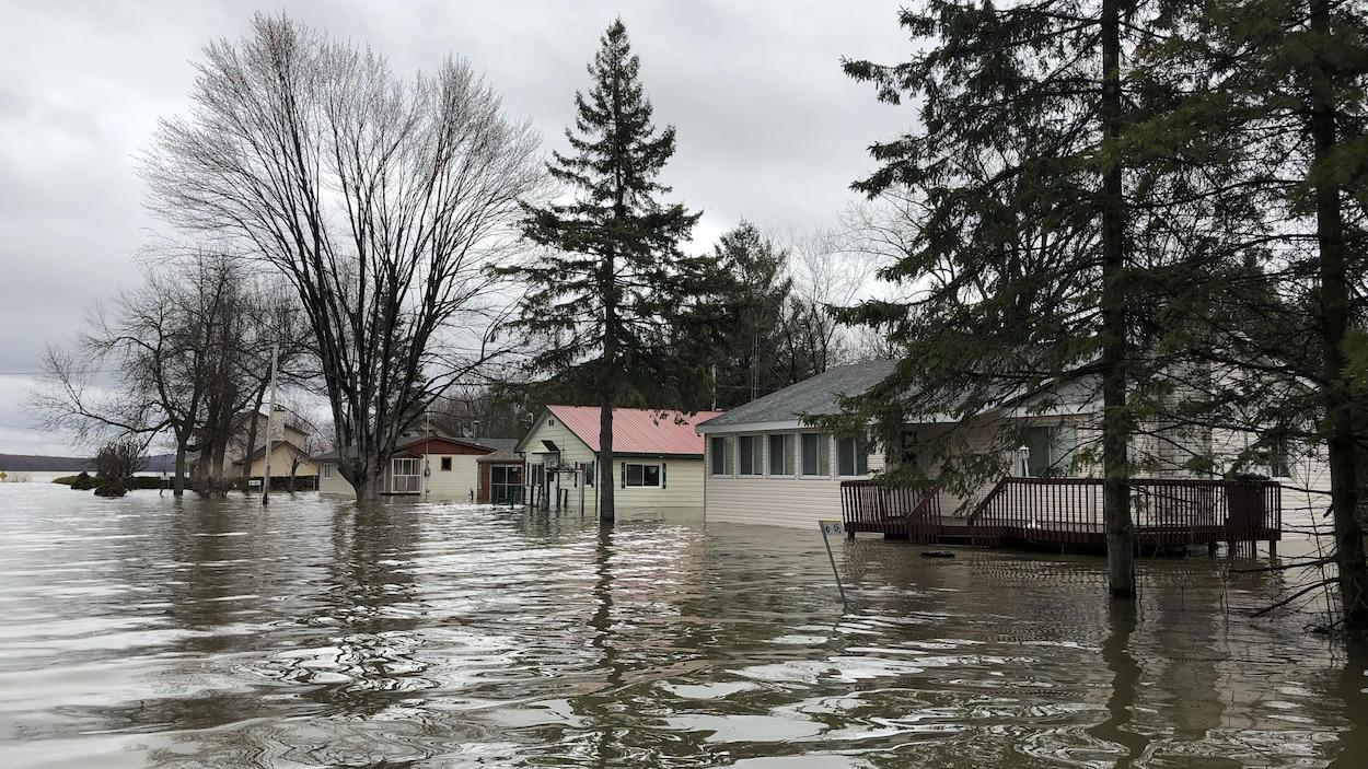 L'eau recouvre complètement les terrains de plusieurs maisons.
