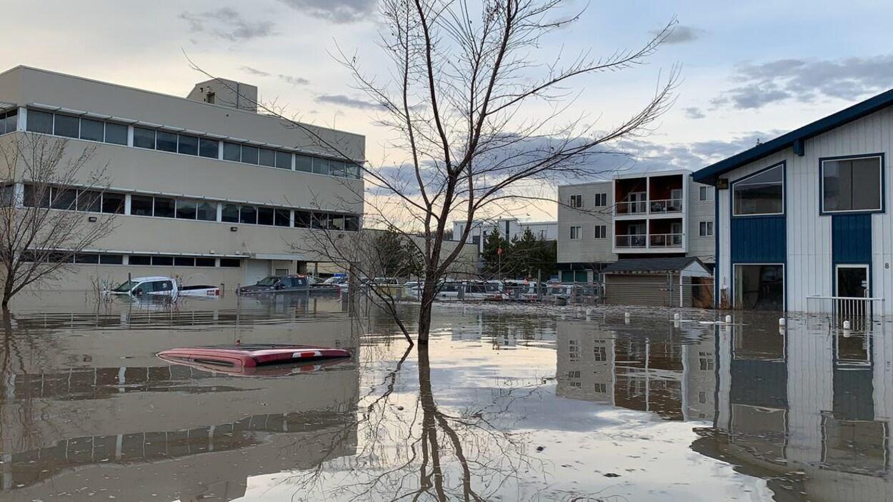 Le toit d'une voiture rouge apparaît sous l'eau. Il y a des arbres sans feuilles et des habitations.