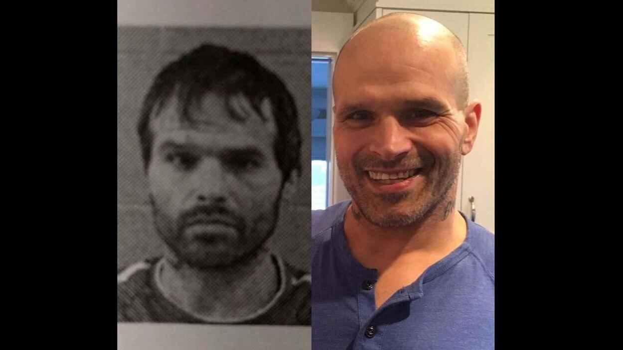 D'un côté, une photo de police de Guy Felicella, mal en point. De l'autre, une photo de lui souriant et en bonne santé.