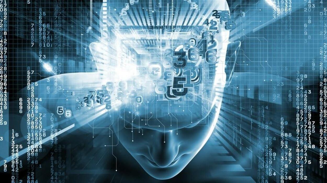 Illustration du concept d'intelligence artificielle avec la silhouette d'une tête humaine de laquelle émanent des chiffres.