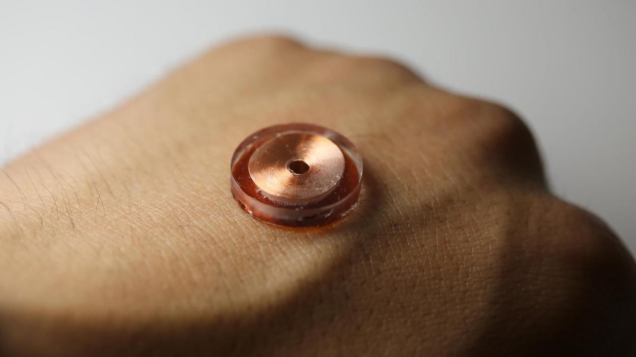 Photo montrant l'interface sur la peau d'une main.