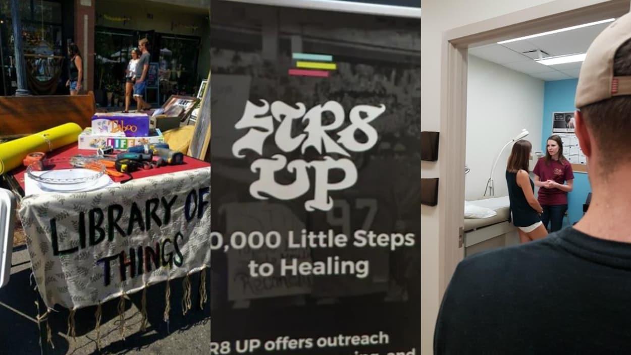 Trois images différentes des organismes de Saskatoon. On y voit une tavble à l'extérieur dans un festival avec des objets à louer de Library of Things, une affiche de STR8 UP ainsi que deux femmes qui parlent dans un cabinet d'une clinique.