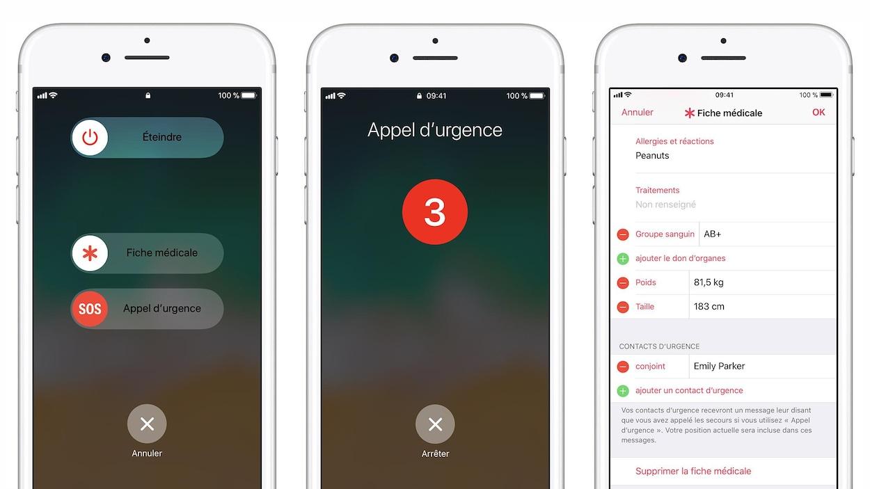 Trois captures d'écran côte à côte montrant des écrans d'iPhone qui affichent respectivement, le curseur d'appel d'urgence, le décompte d'appel d'urgence automatique et la fiche médicale.