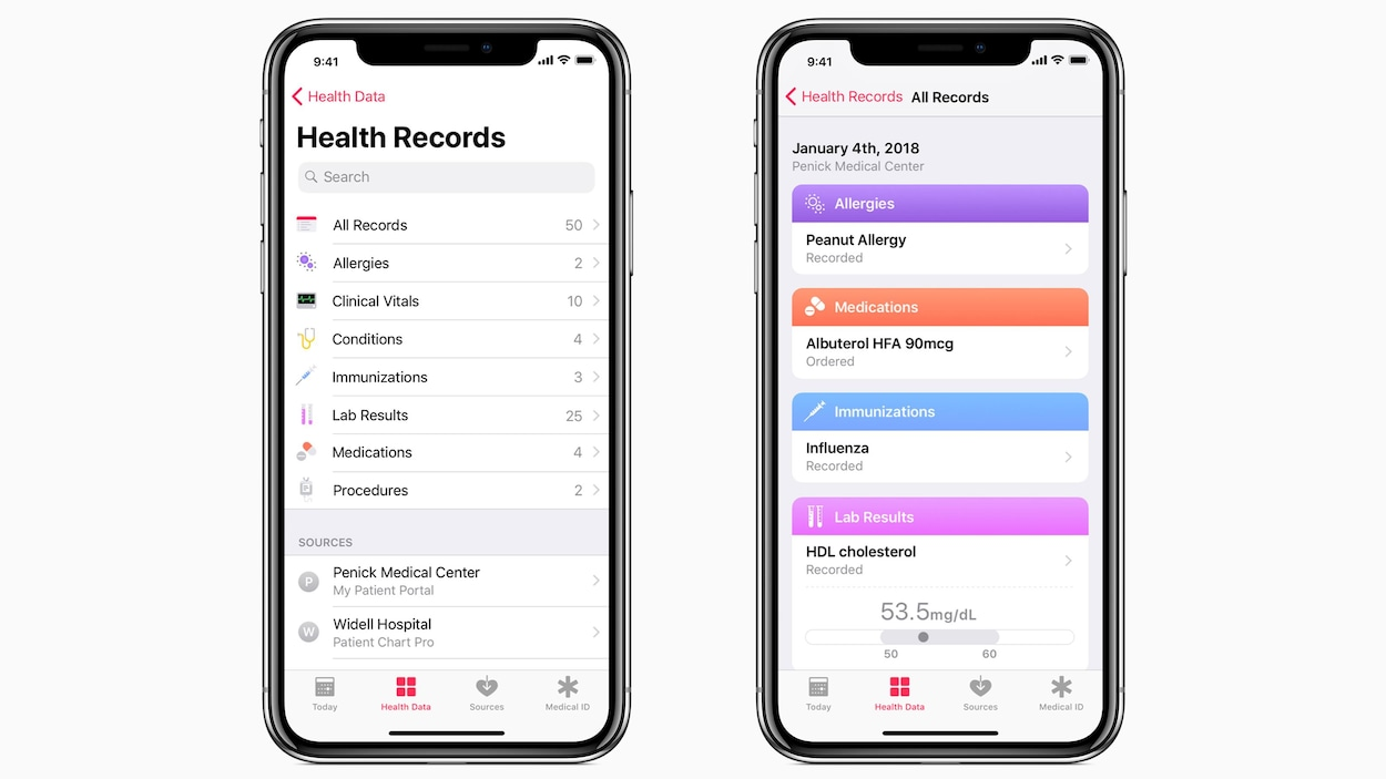 Photo montrant deux iPhone X affichant des menus de l'application Health Records, qui sert à consulter son dossier médical en ligne.