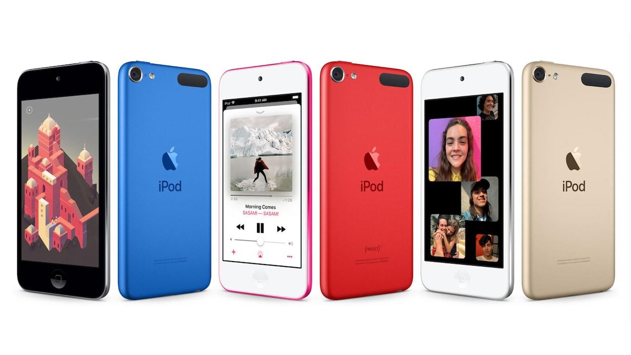Une photo montrant six iPod Touch côte à côte.