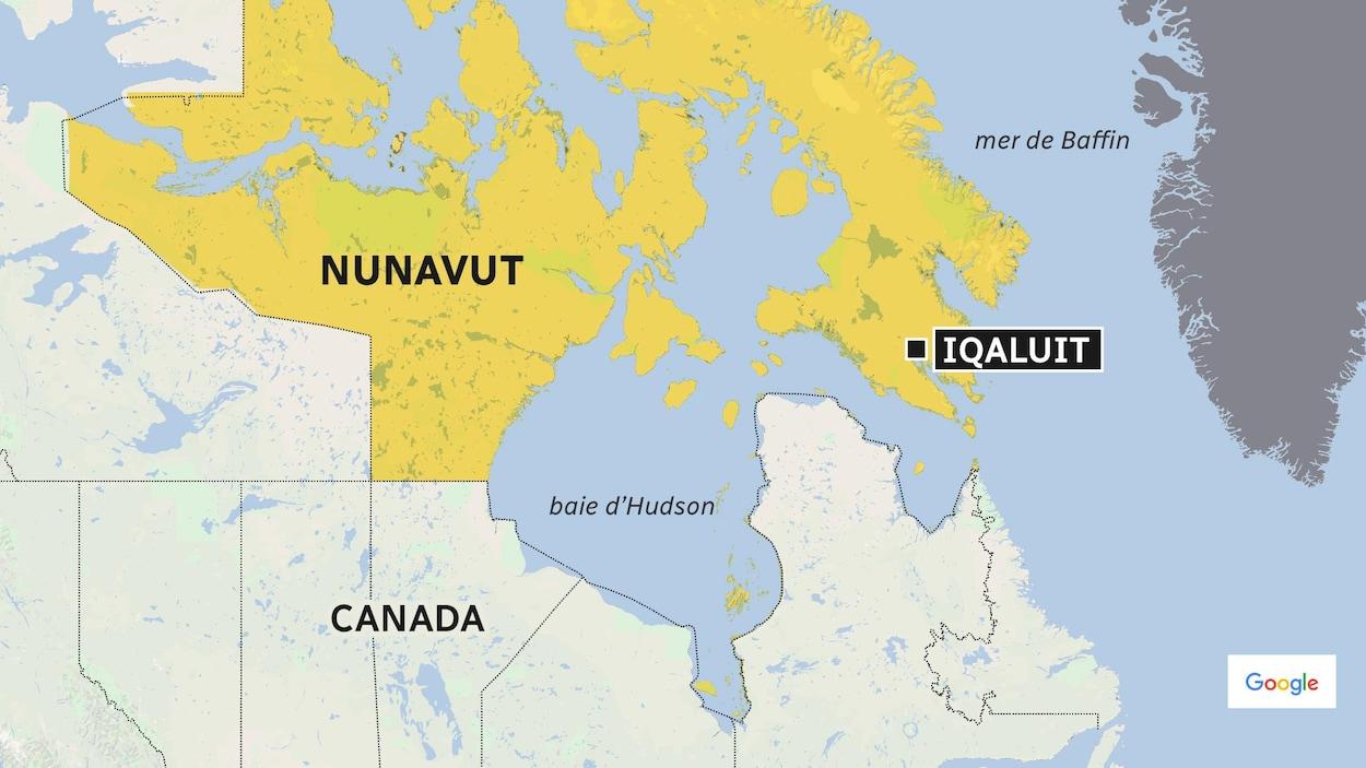 Carte du Canada situant le Nunavut et sa capitale, Iqaluit