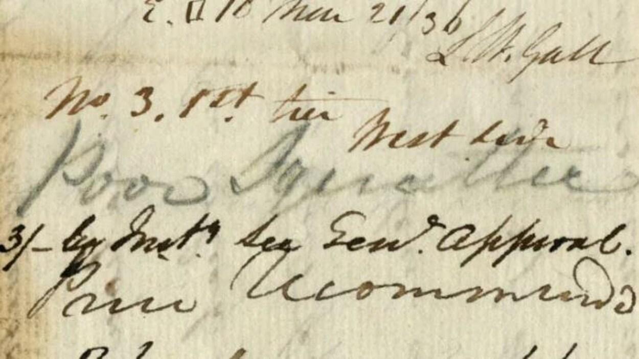 Un ancien document jauni par le temps sur lequel plusieurs notes manuscrites sont lisibles.