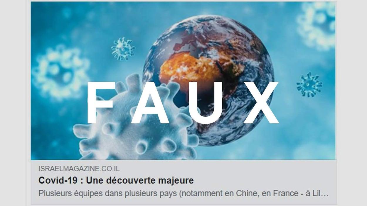 Capture d'écran d'un lien partagé avec le titre « Covid-19 : Une découverte majeure ». Le mot FAUX est superposé sur l'image.