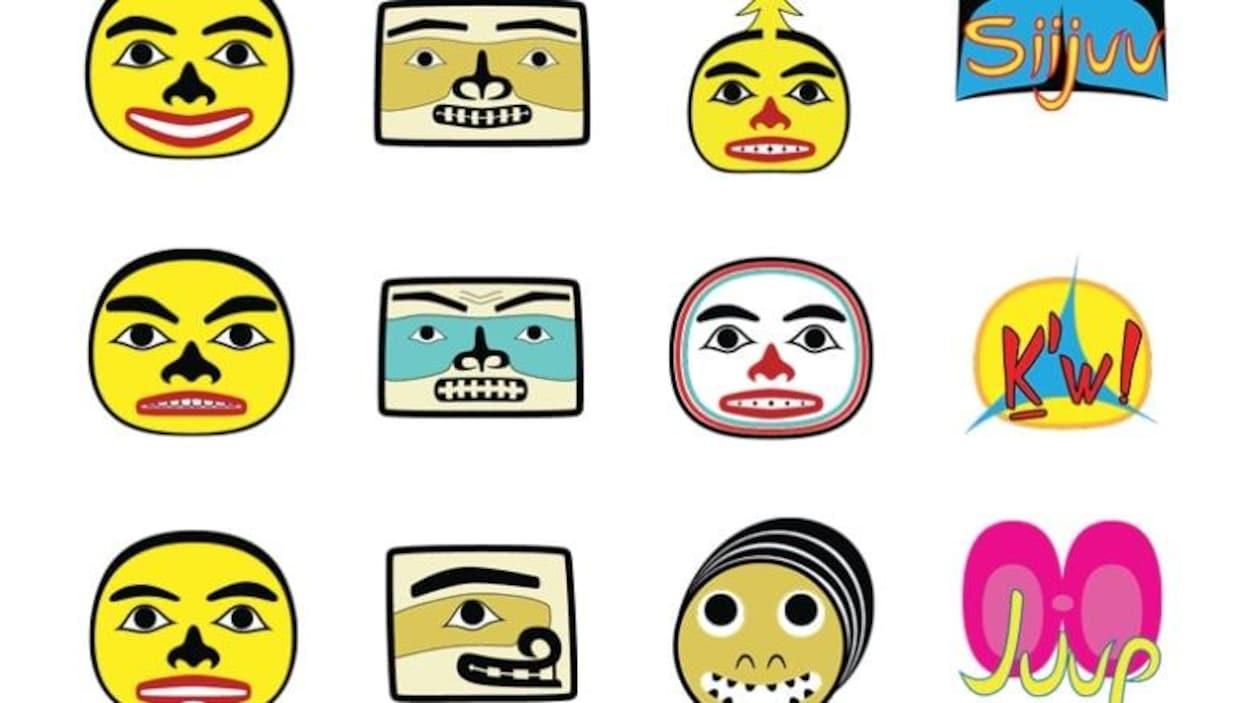 Des emojis sur fond blanc, dont des visages peint avec différentes couleurs.