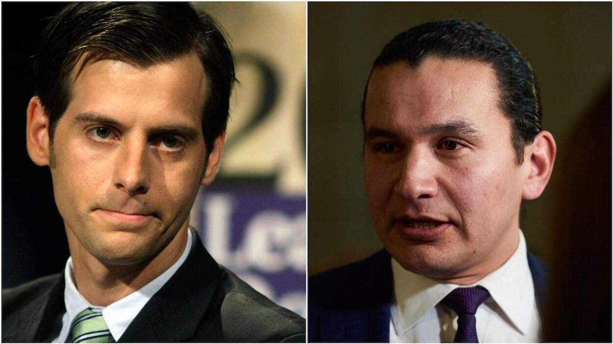 Grops plan des visages deux deux chefs de parti.