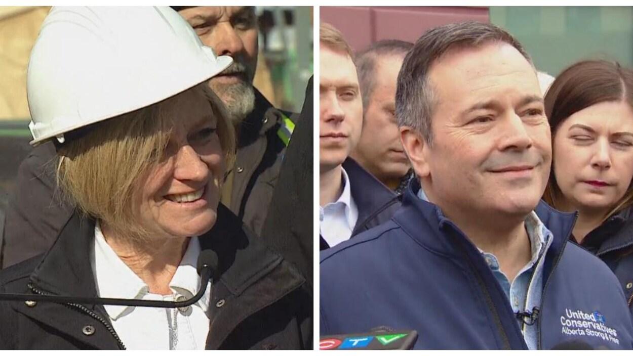 Rachel Notley porte un casque blanc et sourit à la caméra. Jason Kenney sourit devant des micro tendus.