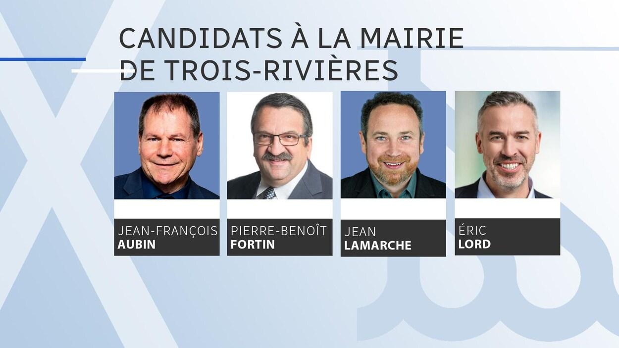 Les visages des quatre candidats : Jean-François Aubin, Pierre-Benoît Fortin, Jean Lamarche et Éric Lord.