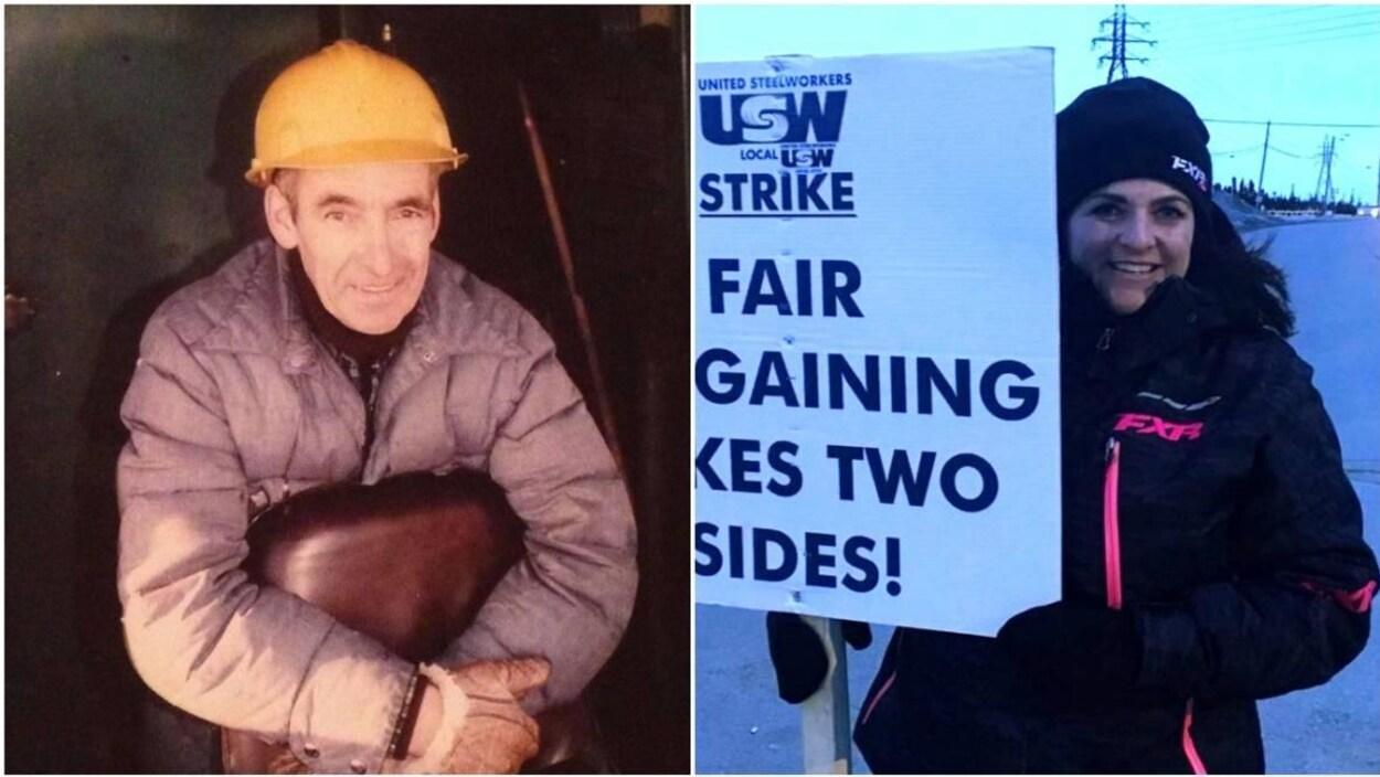 Deux photo : une photo de Jean-Marie Goulet, avec un casque protecteur et une photo de sa fille, Nadine Goulet, avec une pancarte de manifestation.
