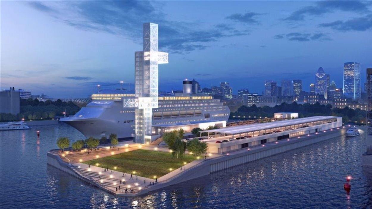 Une esquisse de la nouvelle jetée Alexandra du port de Montréal