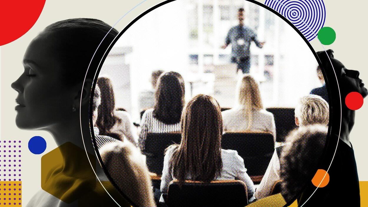 Montage photo de jeunes assistant à une conférence.