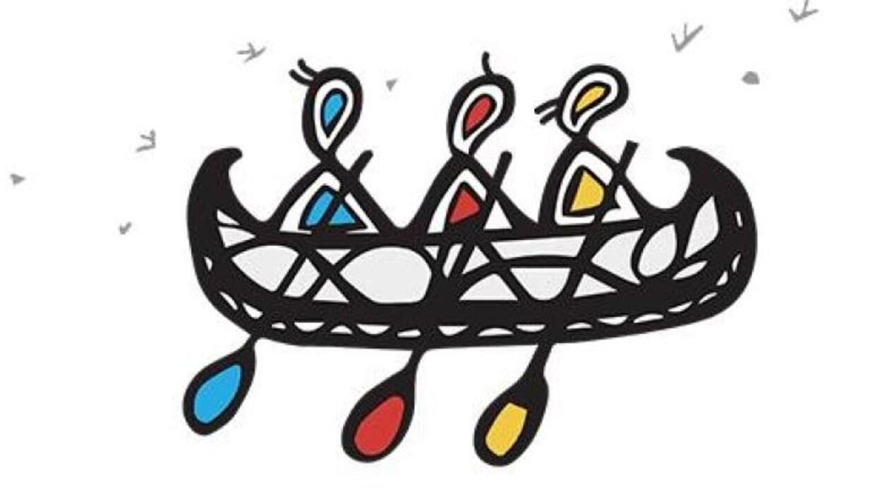 Le logo montre trois figures en train de ramer dans un canoe.
