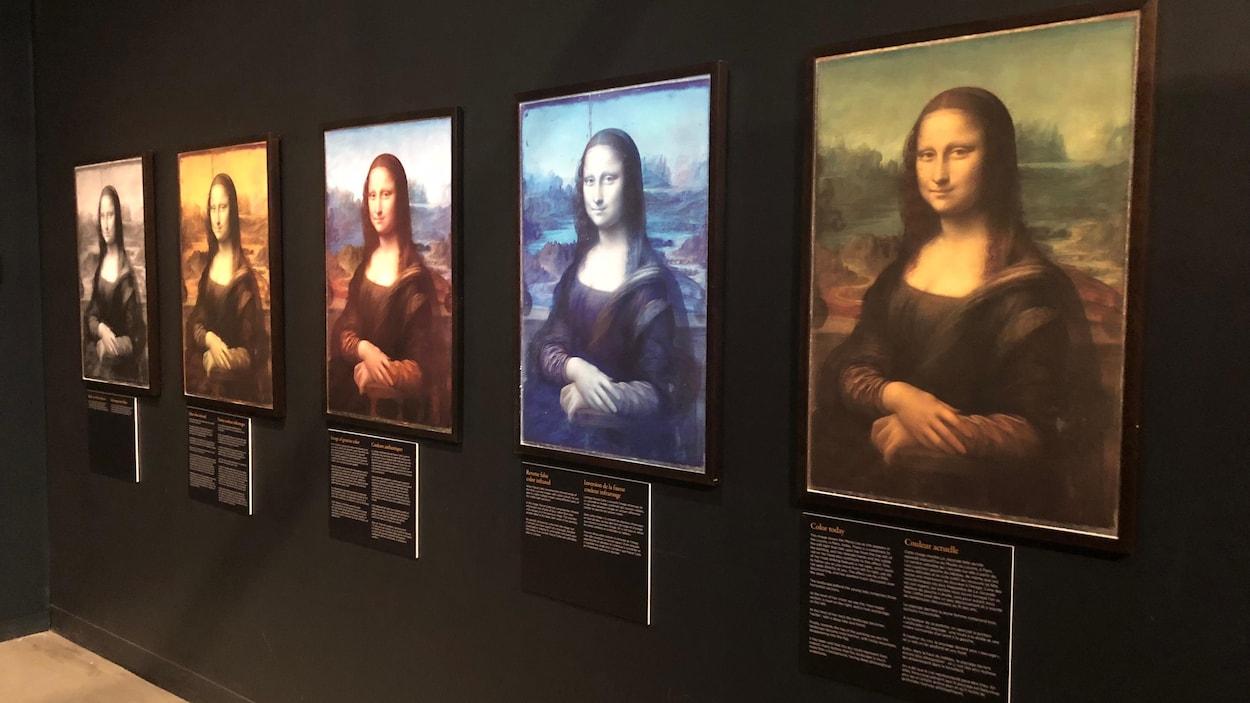 Cinq reproductions du célèbre sont accrochées sur un mur. Chacun a un filtre de couleur différent.
