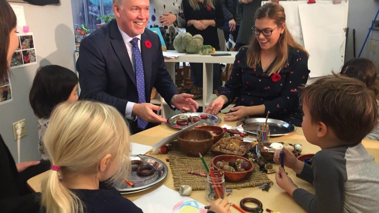 Un homme et des enfants autour d'une table.