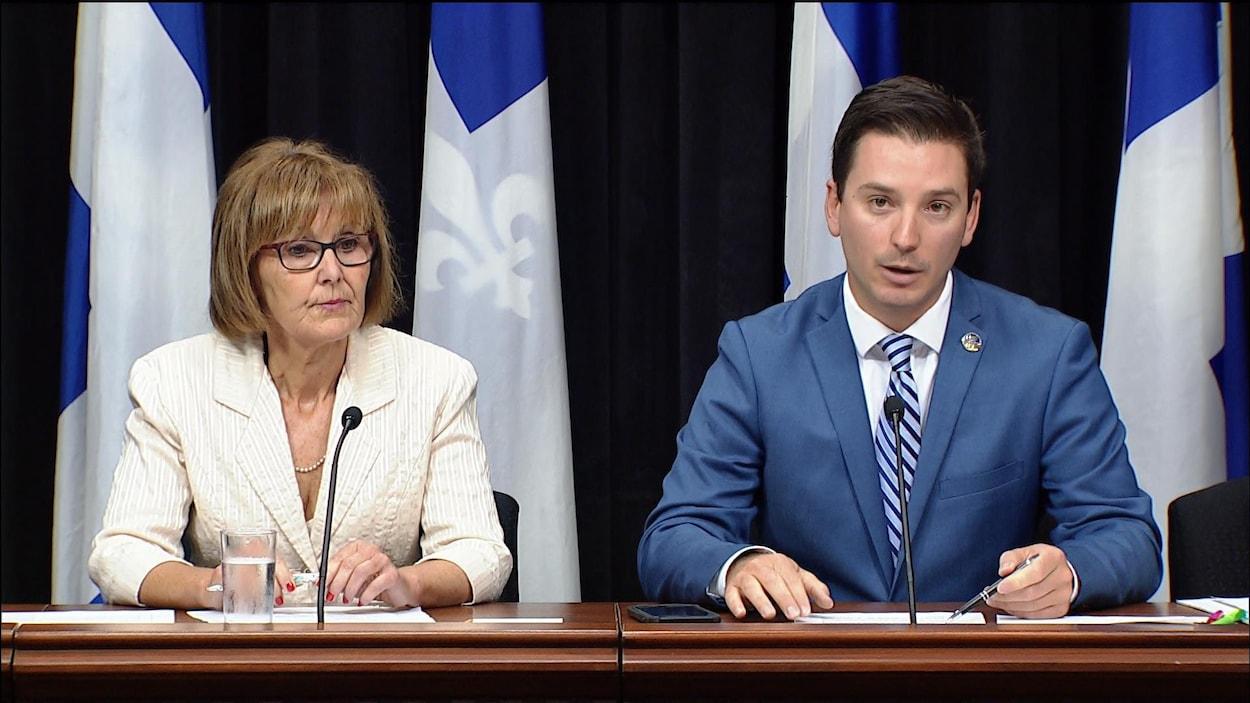 Le député caquiste de Borduas, Simon-Jolin-Barette, et Lise Lavallée, députée de Repentigny
