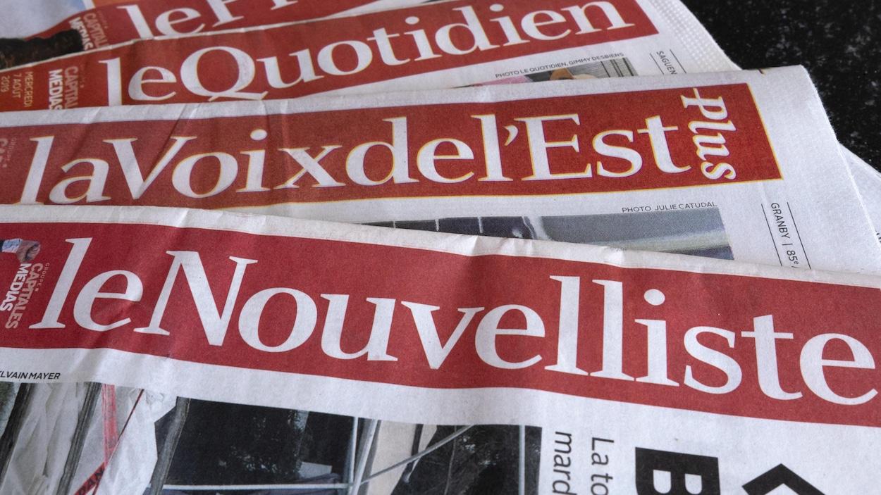 Des copies du Quotidien, de La Voix de l'Est et du Nouvelliste.