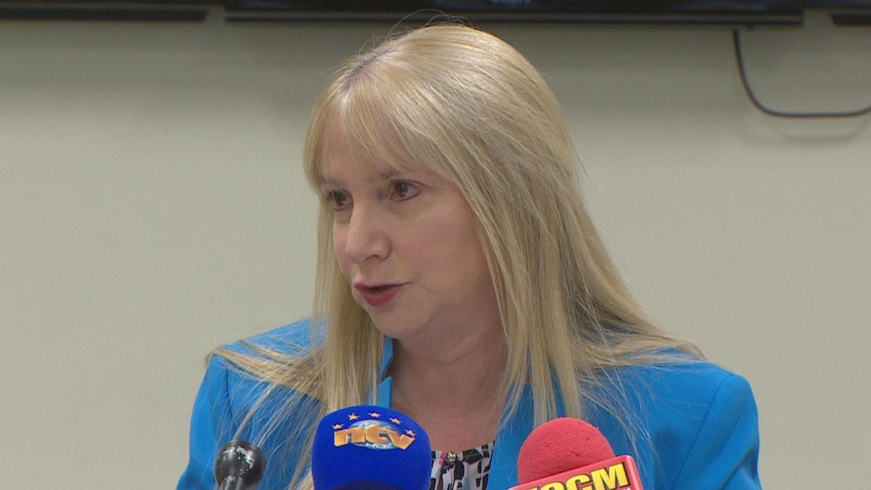 Julia Mullaley en conférence de presse le 12 septembre 2018.