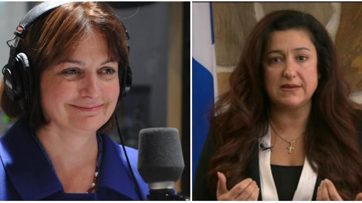 Julie Miville-Dechêne  (à gauche) et  Maria Mourani (à droite)