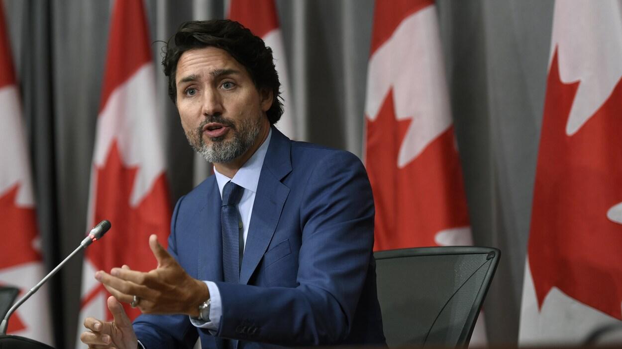 Justin Trudeau en conférence de presse.