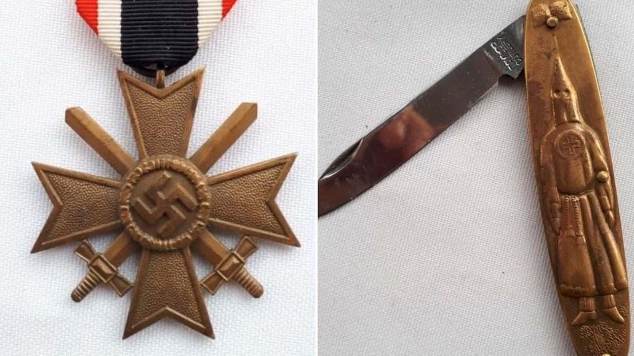 À gauche, une croix gammée sur une médaille et à droite, un canif avec une gravure d'un homme dans un habit du KKK.