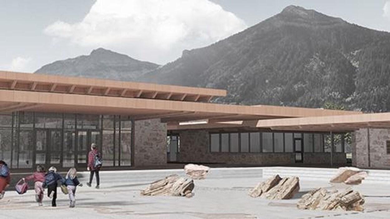 La conception choisie pour le nouveau centre d'accueil du parc national des Lacs-Waterton.